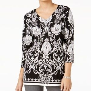 JM Collection Womens Shirt Chain Neck Top Black